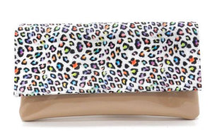 Leopard Printed Nude Patent Leather Clutch