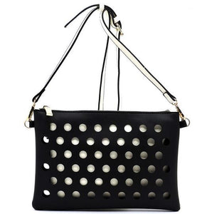 Black/White Laser Cut Crossbody