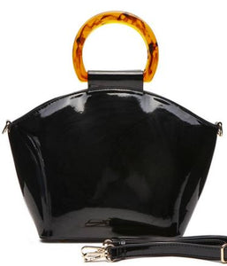 Black Patent Leather Satchel