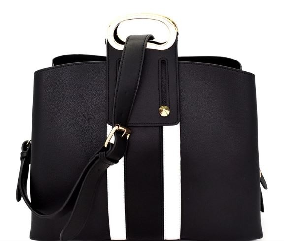 Black w/White Stripe Satchel