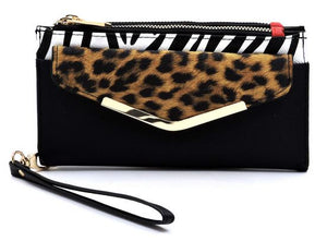 Leopard Crossbody Wallet- Black