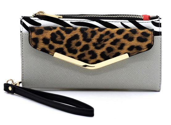 Leopard Crossbody Wallet- Grey