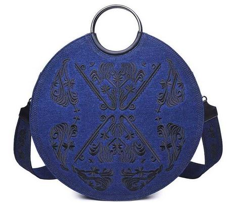Dark Denim Embroidered Handbag