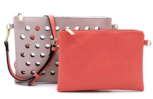 Pink/Coral Laser Cut Crossbody