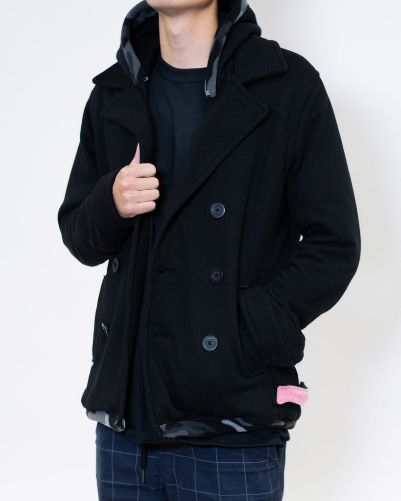 Unsatisfied Camo-Lined Black Peacoat