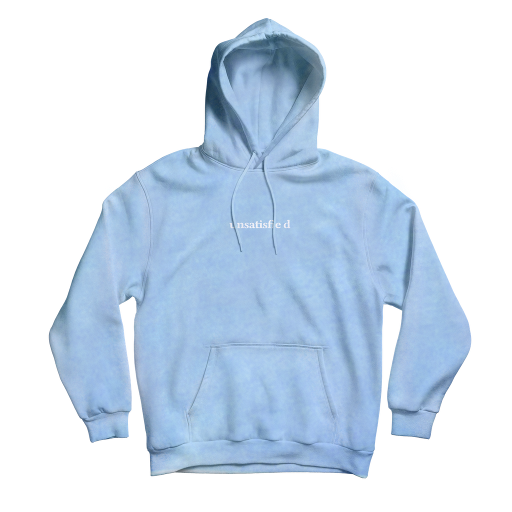 Unsatisfied Custom Dye Blue Embroidery Hoodie