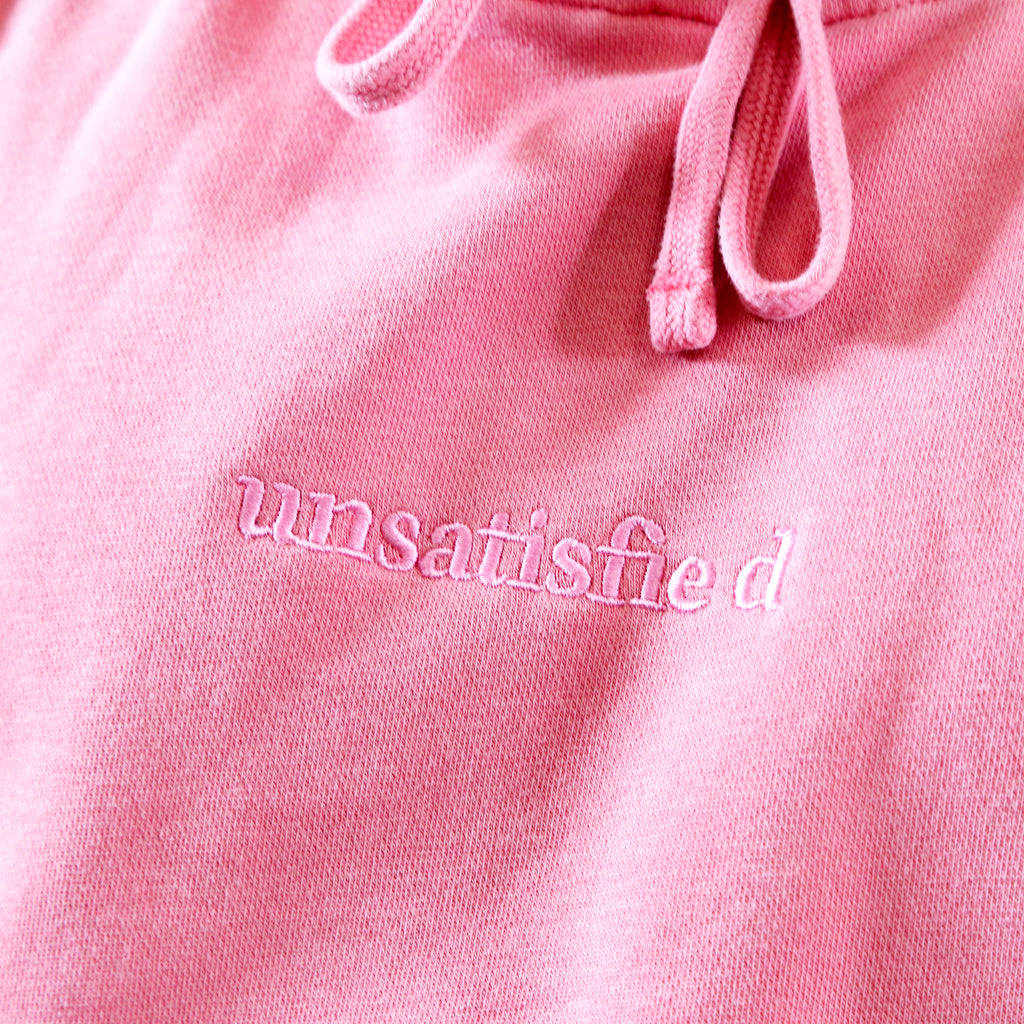 Unsatisfied Custom Dye Pink Embroidery Hoodie