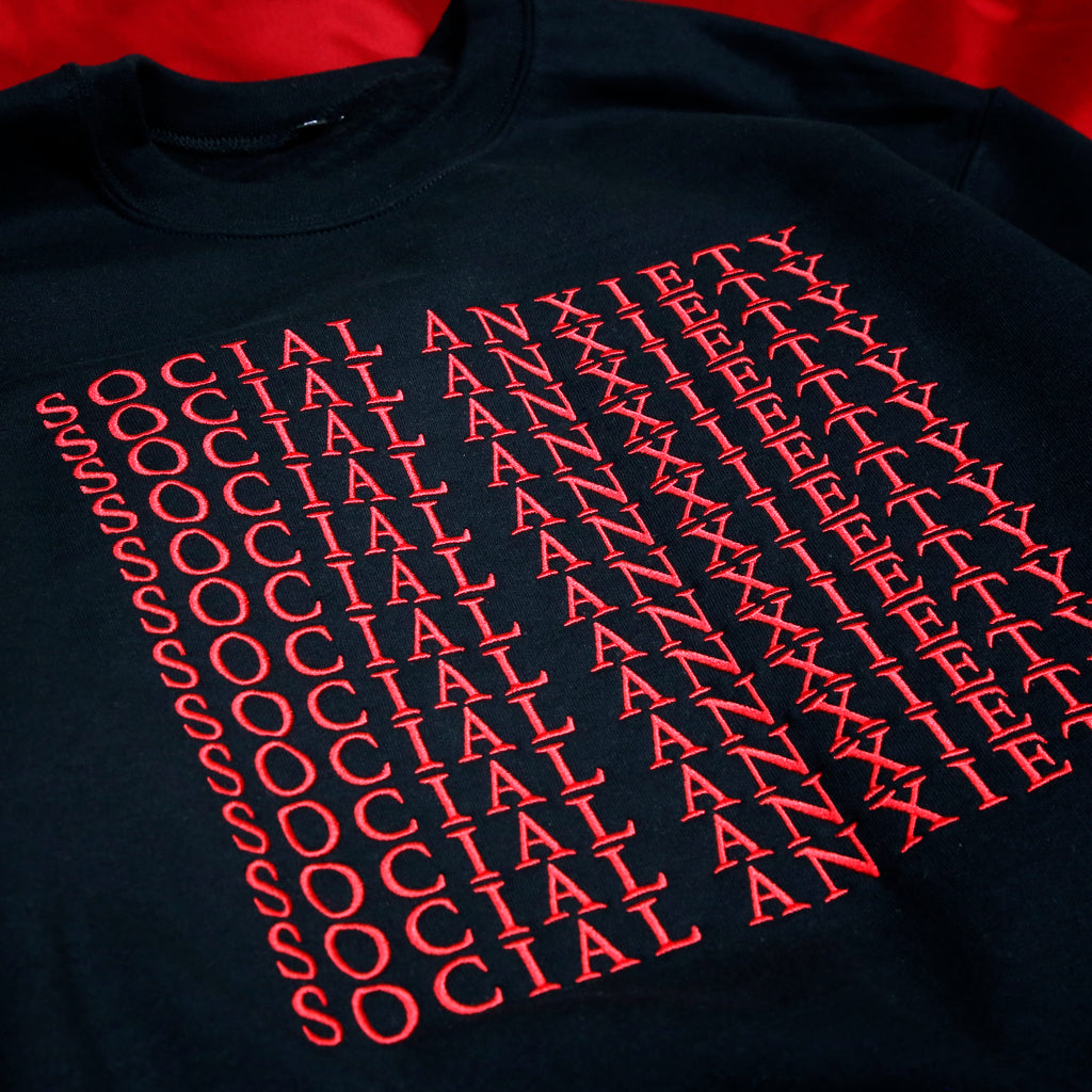 Social Anxiety Black Embroidered Crewneck