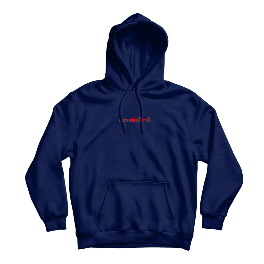 Unsatisfied Embroidered Navy Hoodie