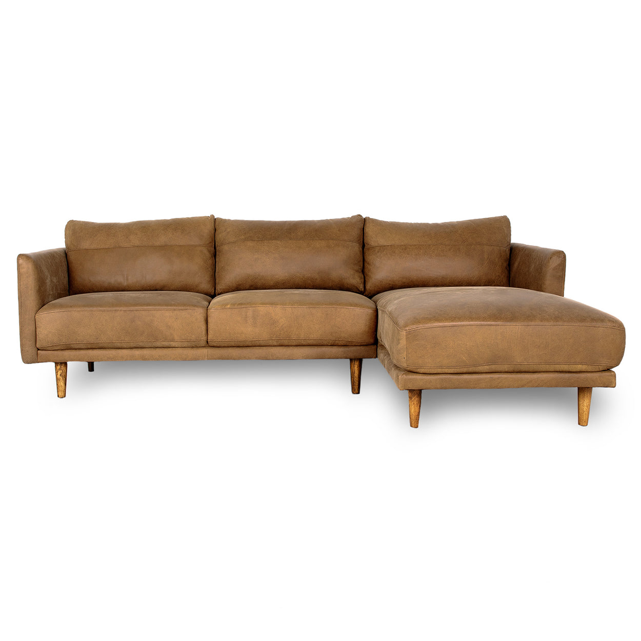 JORDIE LEATHER - 3 Seat, Right Side Facing Modular Sofa