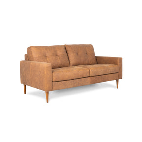 side of brown leather 2 seater sofa
