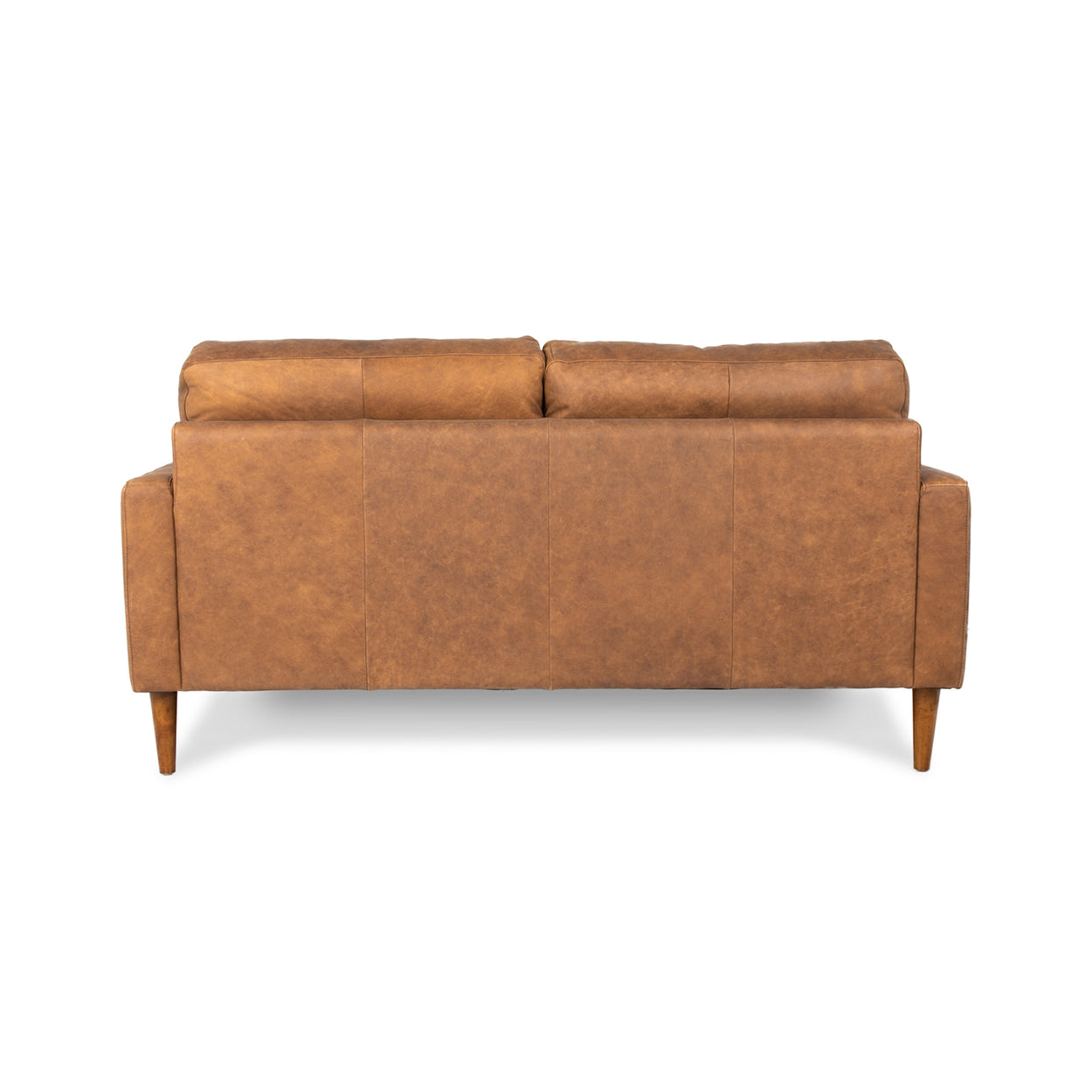 back of brown leather 2 seater sofa