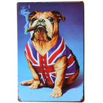 Smoking Bulldog Art Decor