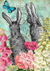Rabbits & Flowers Card