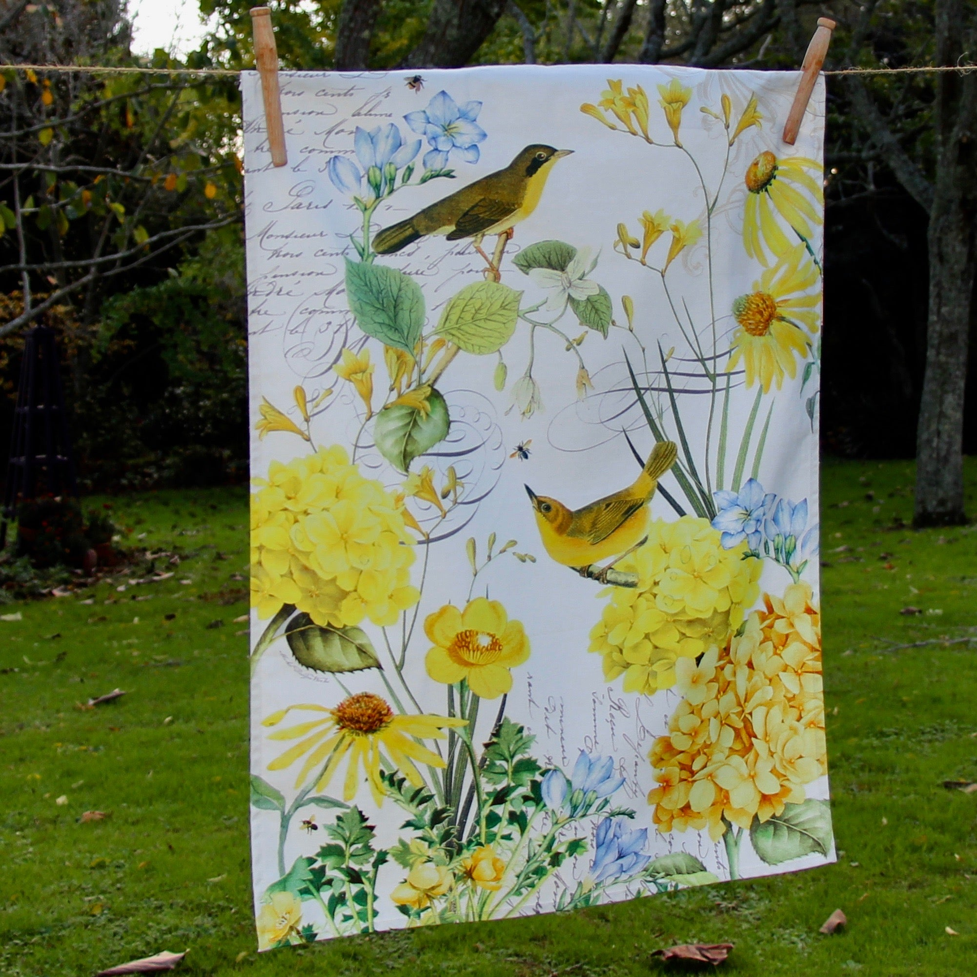 Puriri Lane | Tranquility Birds & Flowers | Tea Towel