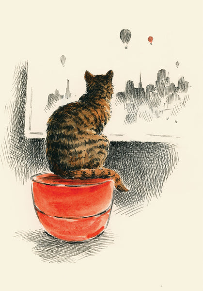 Daydreaming - Cat at the window card | Roger La Borde