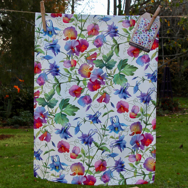 Puriri Lane | Sweetpea & Aquilegia | Tea Towel