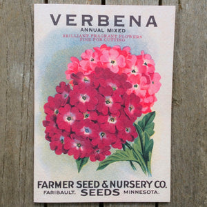 Puriri Lane | Vintage Seed Packet Card | Verbena