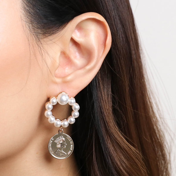 Coin and Pearl Earrings