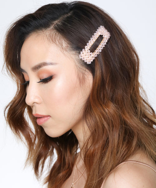 Crystal Blush Beads Hair Clips