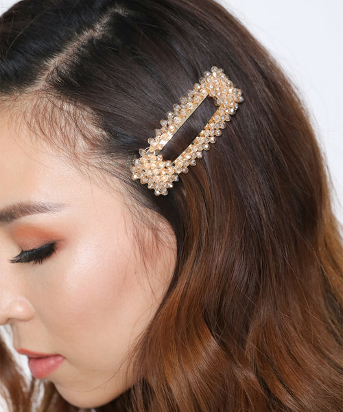 Crystal Champagne Beads Hair Clips