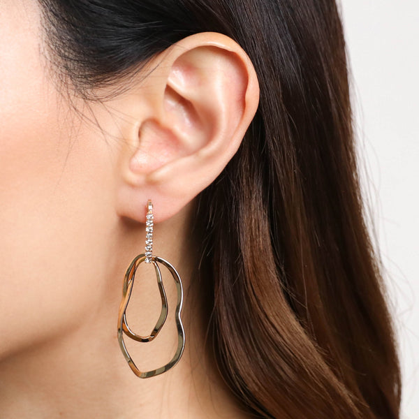 Crystal Ellipse Waves Earrings - Gold