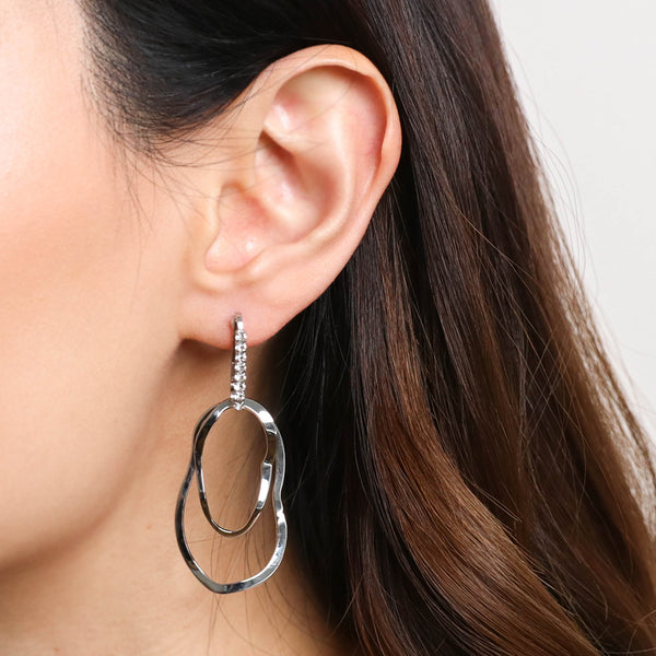 Crystal Ellipse Waves Earrings - Silver