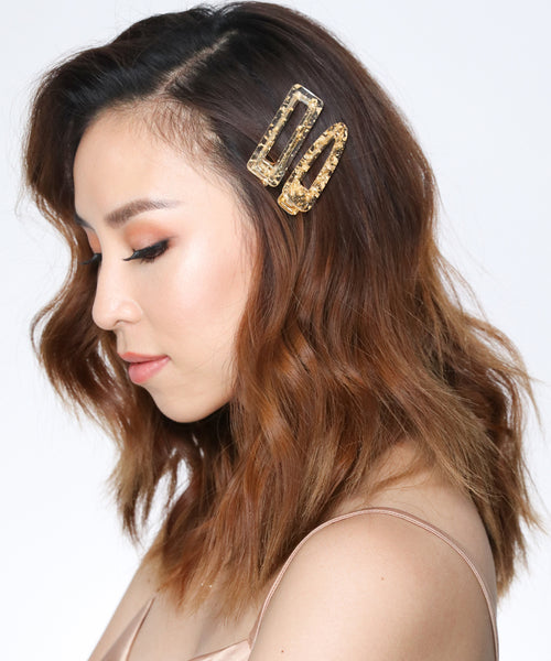 Gold Flakes Triangle Hair Clips