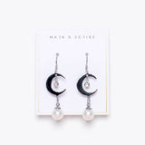 Crescent Pearl Drop Earrings - Silver