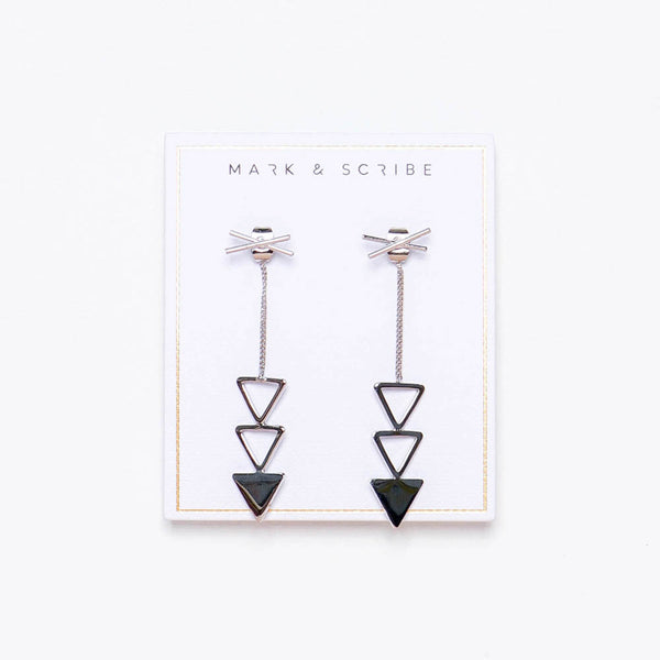Trinity Drop Earrings - Silver