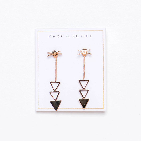 Trinity Drop Earrings - Gold