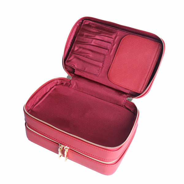 Large Deep Red Cosmetic Case