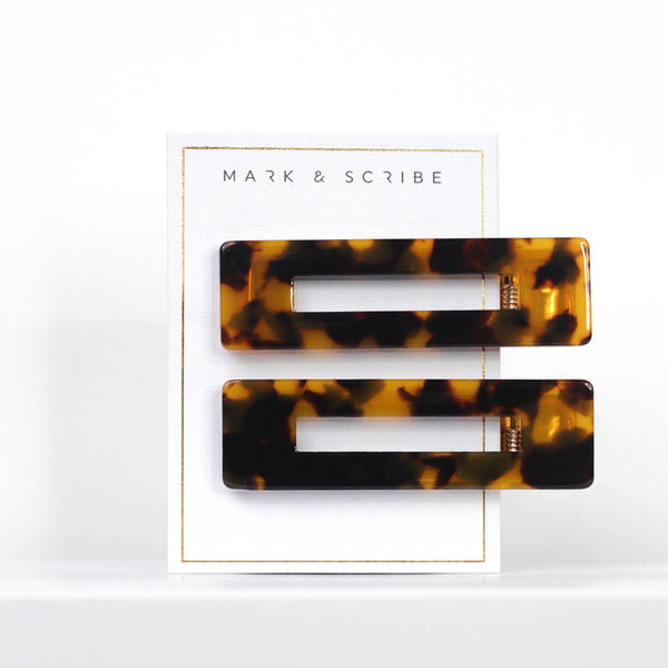 Dark Tortoiseshell Rectangle Hair Clips
