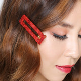 Scarlet Rectangle Hair Clips