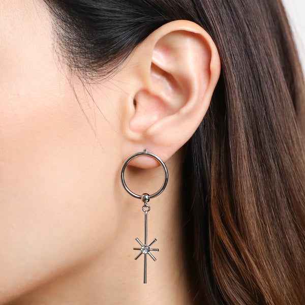Star Drop Hoop Earrings - Silver