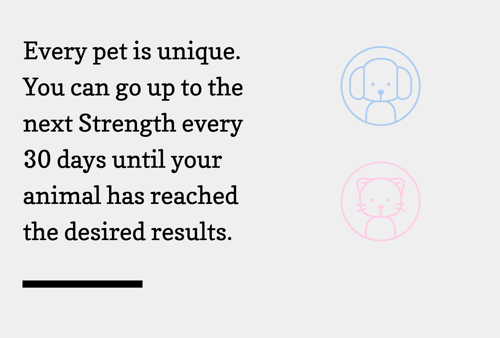 Every pet is unique. You can go up to the next Strength every 30 days until your animal has reached the desired results.