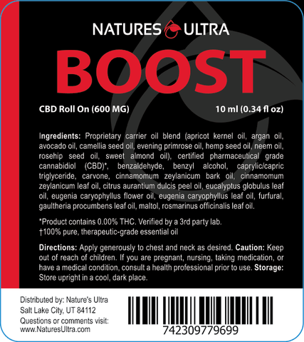 Product Label for Nature's Ultra Boost CBD Roll On
