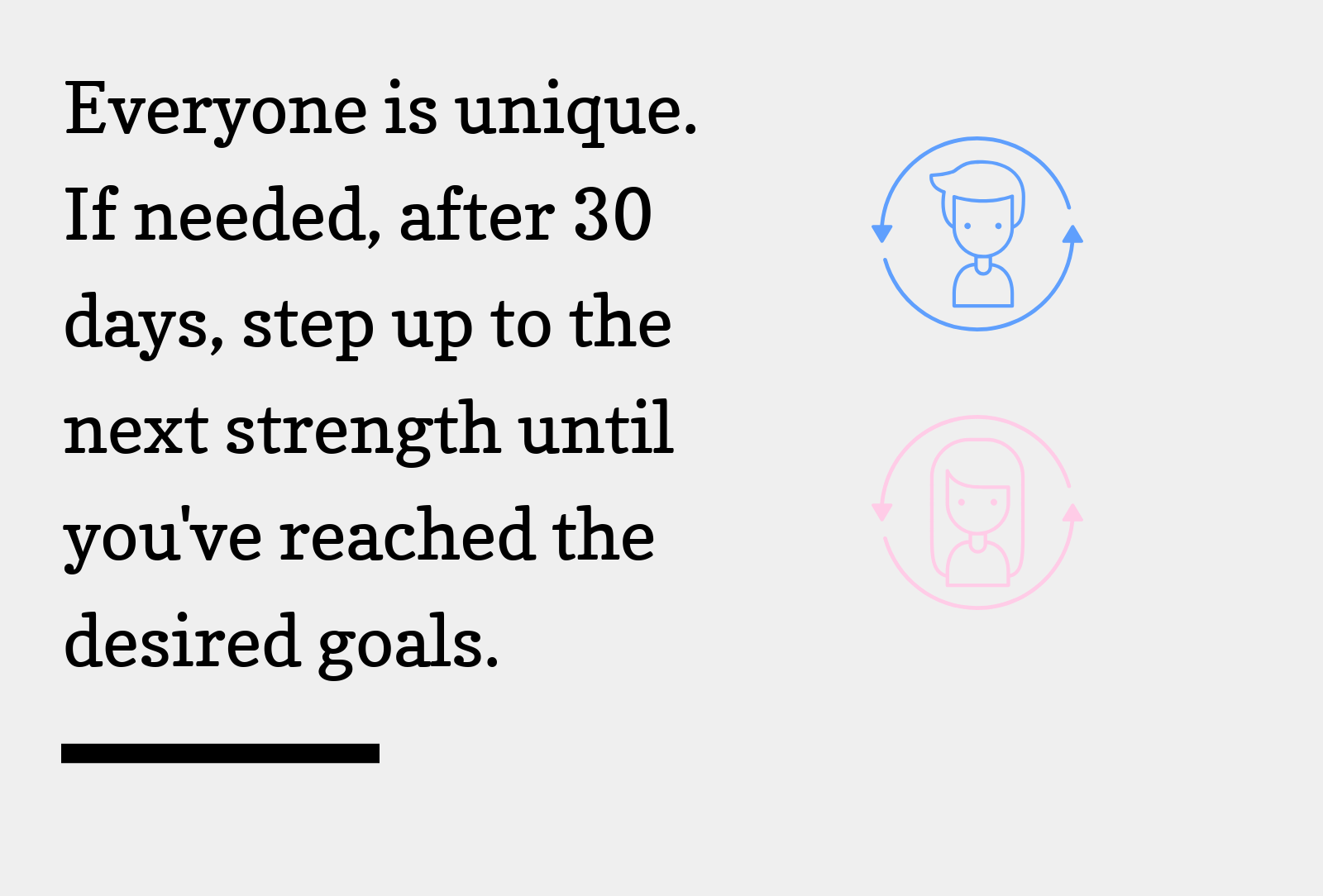 Everyone is unique. If needed, after 30 days, step up to the next strength until you've reached the desired goals.