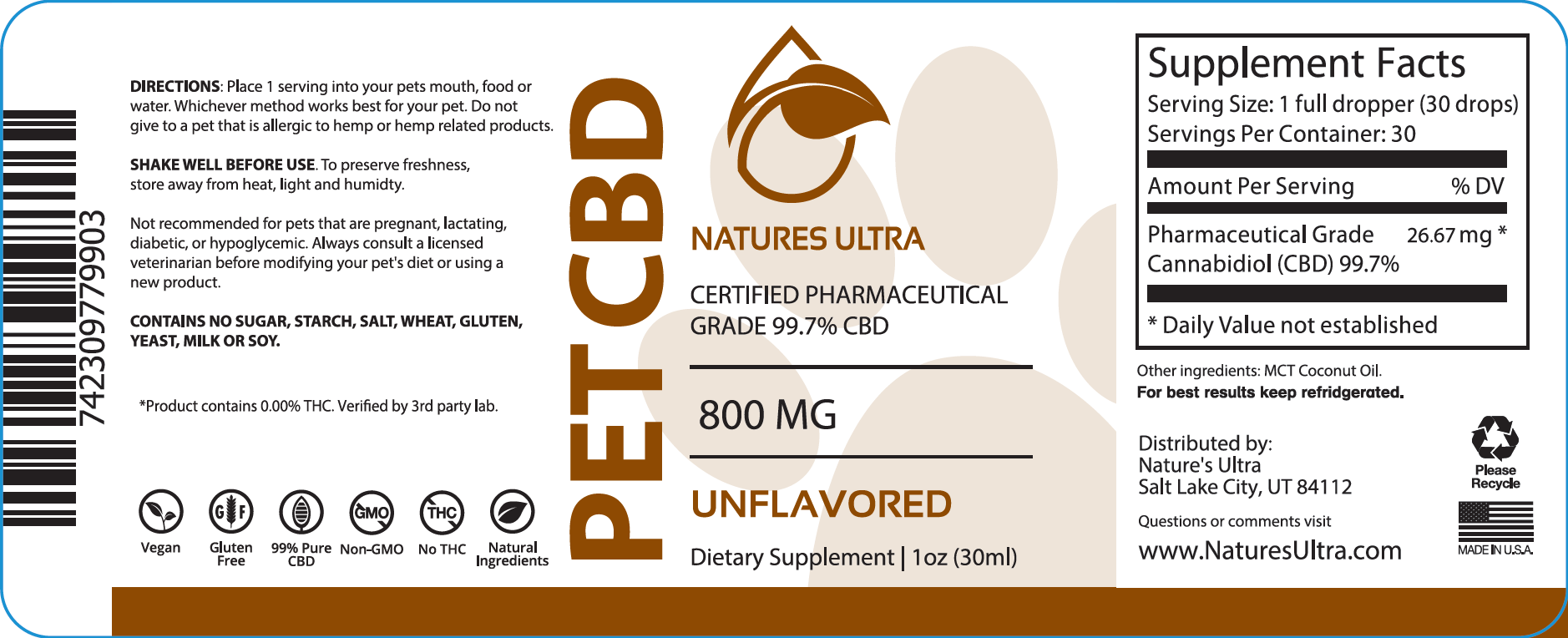 Product label for Pet CBD Oil from Nature's Ultra