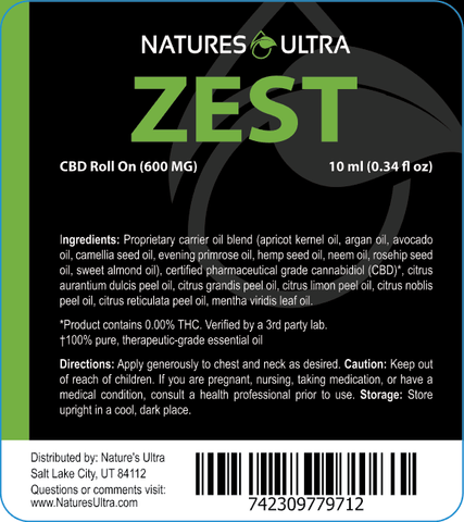 Product Label for Nature's Ultra Zest CBD Roll On