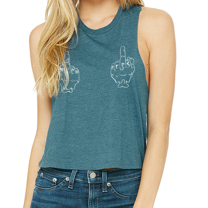 No Creeps Women's Cropped Racerback Tank - Adventure Brand