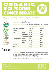 rice protein concentrate label
