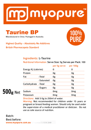taurine bp label