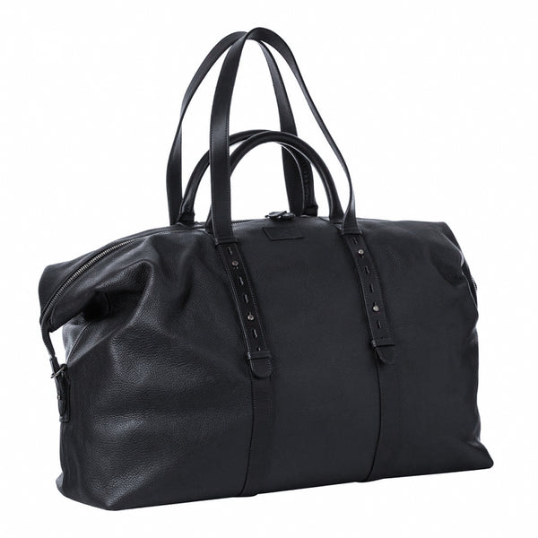Hackett Black Pebble Grain Leather Heritage Weekend Bag Made In England