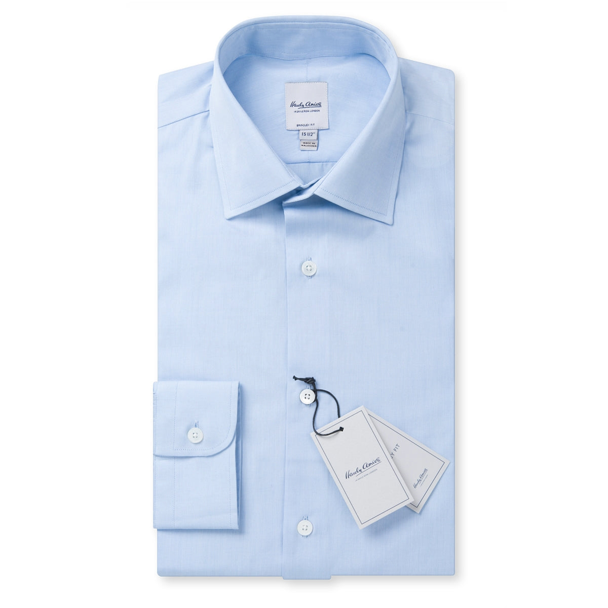 Hardy Amies Solid Sky Blue Spread Collar Shirt