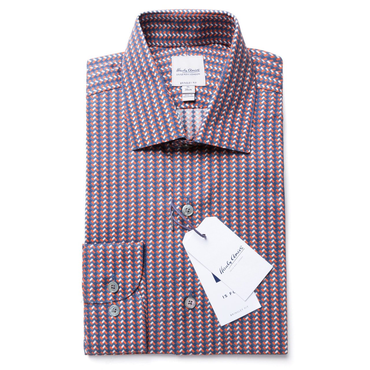 Hardy Amies Terracotta Print Brinsley Fit Shirt