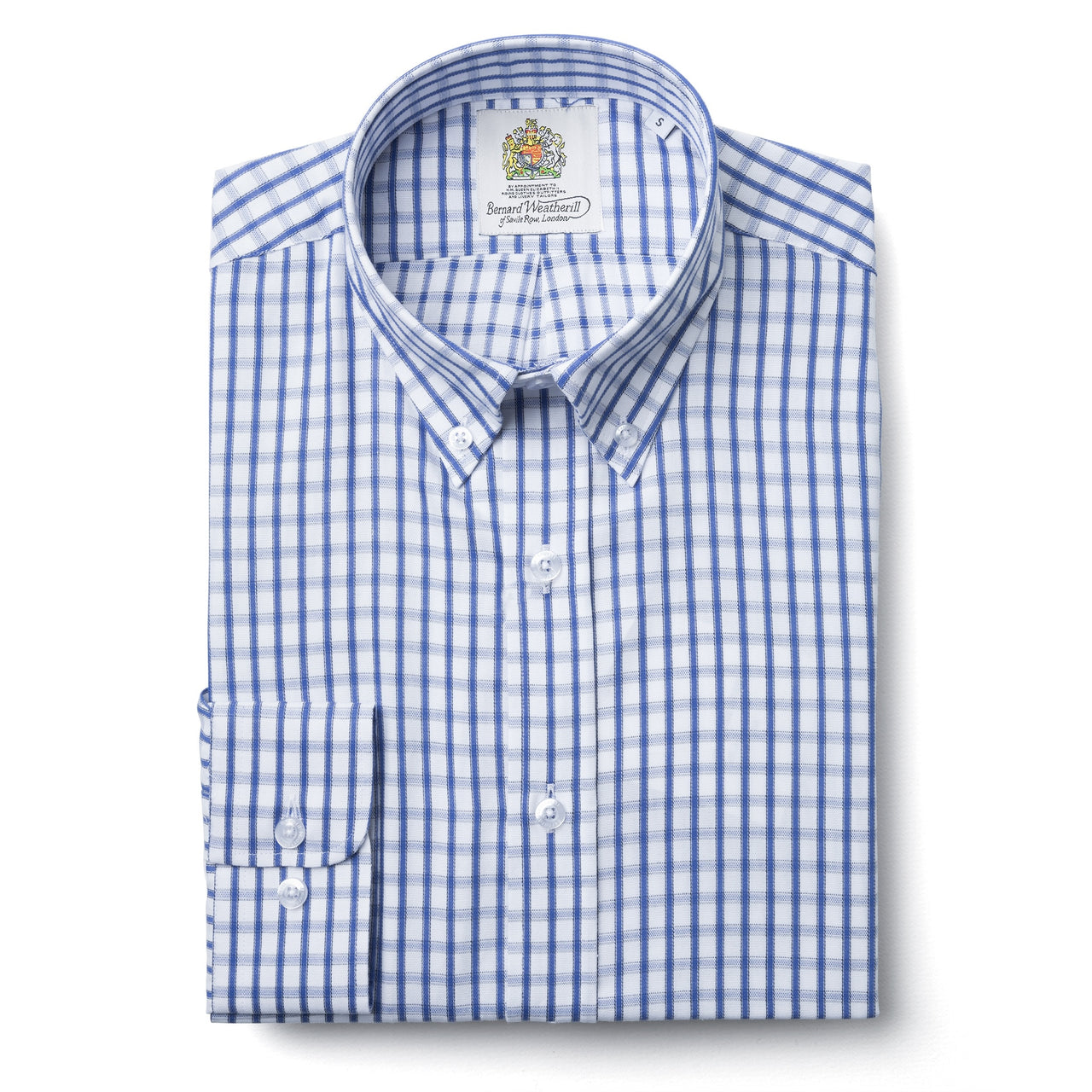 Bernard Weatherill Blue & White Oxford Cloth Check Button Down Shirt