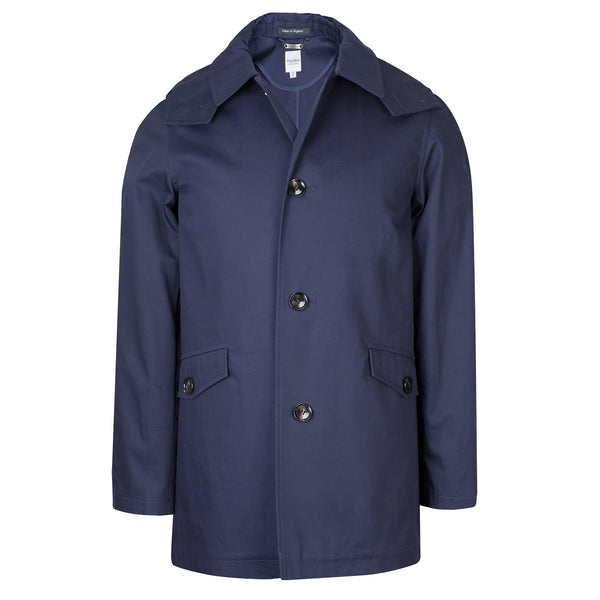 Navy Blue Water Resistant Hooded Coat