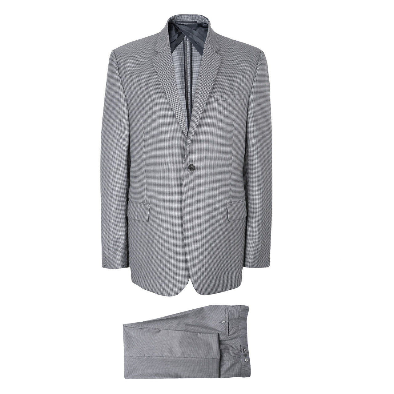 Luxury Grey Mini Houndstooth Suit Made In Italy