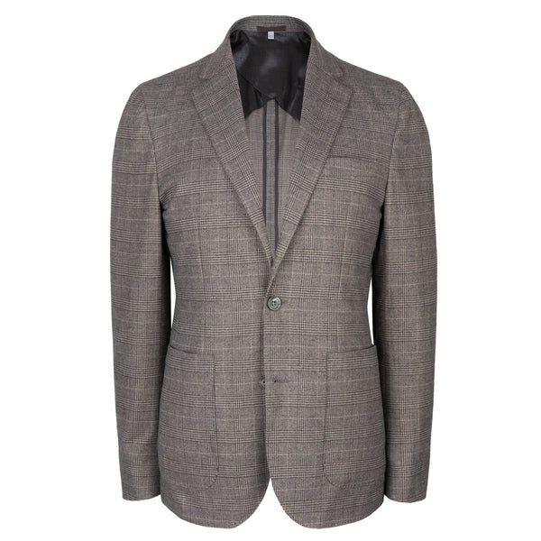 Sondrio Brushed Cotton Mink Check Patch Pocket Jacket